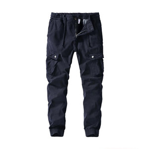 Pants Men Casual Pleated Multi Pockets Mid Waist Solid Loose Long Cargo Pants Streetwear Pantalones Hombre Joggers Sweatpants