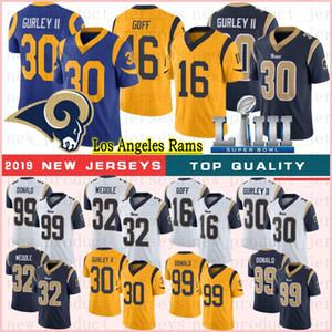 30 camisetas de fútbol Todd Gurley 99 Aaron Donald jerseys de 16 Jared Goff 32 Eric Weddle 2020 nueva calidad superior de los jerseys cosido caliente