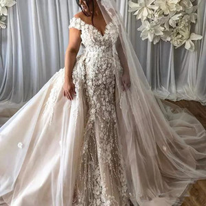 ترف 3D الأزهار زين فستان الزفاف براقة دبي قبالة الكتف حورية البحر أثواب الزفاف أنيقة انفصال تنورة زائد حجم أثواب الزفاف