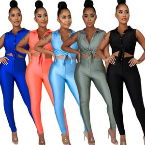 Elegant Women Sleeveless Shirt Outfits 2020 Summer Satin Fabric Long Pants Short Top Two Pieces Party Stay-home Fashion Sets Female Newest