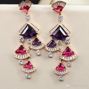 Fashion Brand Jewelry Earrings For Women 2018 Hot Gold Plated Zirconia Fan Earring Luxury Wedding Ear Studs Free Shipping