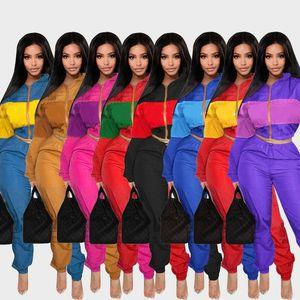 Mujer Nueva Moda Chándal Chaqueta y sudadera con capucha y pantalones 2 piezas Set r Diseño Traje deportivo Ropa de mujer para mujer