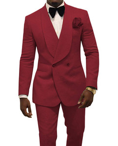 2021 Châle revers Mariage Tuxedos Groom Wear costumes Bourgogne GroomsMen Slim Fit Fit Formel Dîner Business Costumes Ventilation (veste + pantalon + arc)