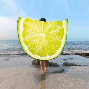 3D Meyve Baskılı Yuvarlak Goblen Yoga Mat Plaj Havlusu Polyester Daire Karpuz KIWI Ejderha meyve Açık Ev Tekstili