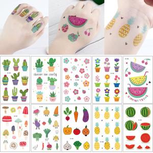 Kleine Frucht-Gemüse Aufkleber wasserdicht temporäre Tätowierung Aufkleber Kaktus Pilz Wassermelone Blumen-Körper-Tätowierung-Jungen-Mädchen-Finger-Handentwurf