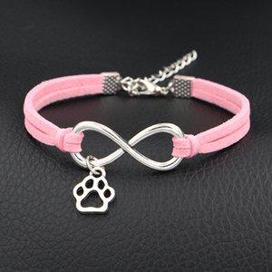 Handmade intrecciato rosa chiaro intrecciato in pelle scamosciata bracciali braccialetti Moda Infinity Amore Carino Mini cane stampe zampa gioielli per uomini donne
