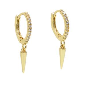 Altın kaplama spike charm revit dangle charm küpe bırak moda basit takı ile cz daire çember kadınlar için