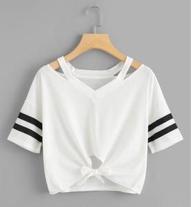 Womends-T-Shirt der beiläufigen 2020 Sommer-Kurzschluss-T-Shirt Mode Luxus Frauen-Qualitäts-Hohle OUTt Shirt-Stoff S ~ 2XL