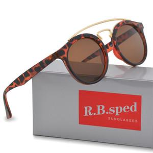 Rodada óculos de sol para mulheres homens marca designer óculos de sol ao ar livre colorido uv400 lente moda óculos de sol com caixa e estojo de couro
