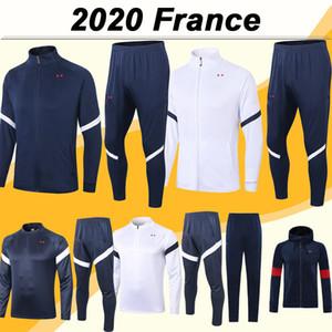 2020 FRANCE Gehender Reißverschluss-Jacke Fußball-Trikots Anzug New Nationalmannschaft Mbappe Griezmann Sapphire Weiß Anzug Kit Fußball-Hemd Hose Top