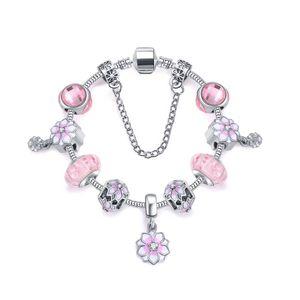 encanto de la flor de cerezo pulsera 925 plata sakura encantos pendientes dulces granos rosados Accesorios aptos para la joyería DIY como regalo de San Valentín