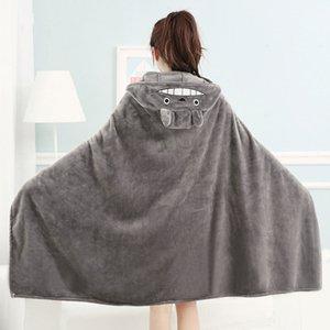 160x90cm Симпатичное Тоторо Minky Одеяла для взрослых спящих Уютного мультфильма Мягкого Hooded Одеяло Коралины Покрывала Nap Тихого