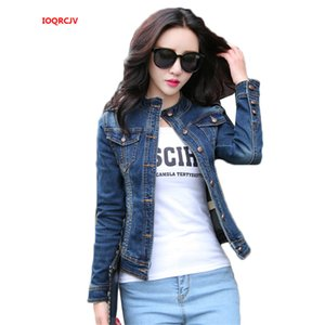 Womens Jackets Coats 2020 Spring Fashion Stand Collar Jeans Jackets Slim Long Sleeve Jaqueta Denim Outerwear Ladies Coats W1081