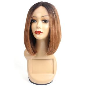 1B 30 Ombre T-type кружева фронт человеческих волос парики прямые волосы 10 дюймов Короткий боб стиль бразильский Реми парики волос Для женщин