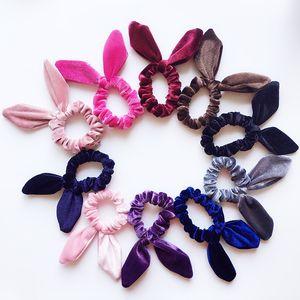 18 colors Girls Velvet Bunny Ears Elastic Hair rope Kids Accessories Ponytail Rabbit ears hairbands Children Scrunchy Hairbands