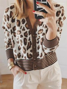 Panelled Womens Designer Sweaters Fashion Single Breasted Womens Cardigan Sweaters Casual Females Clothing Sexy Leopard Stripe