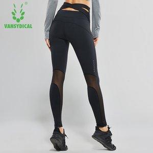 Vansydical Women High Waist Yoga Pants Cross Belt Dance Tights Compression Running Leggings Skinny Fitness Sports Pants Y200529
