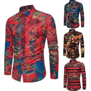 Formelle Hommes Luxe chemise élégante Top ShirtsSlim Fit Casual manches longues col V Party Casual Imprimer Shirts