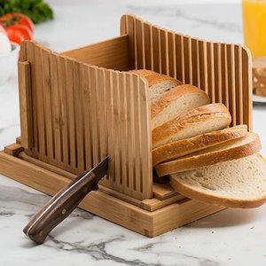 Mutfak Bambu Pastalar Ekmek Dilimleme Dilimleme Kurulu Katlanabilir Bun Loaf Ayarlanabilir Ev Pasta Aracı Kırıntı Catcher Guide Kesme