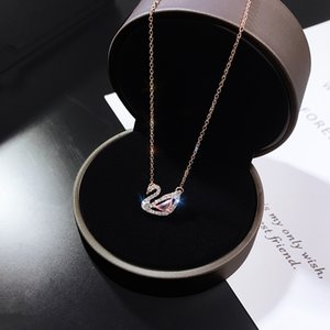 Pink Little Swan Necklace Female Korean-Style Simple Student Crystal Pendant Elegant Clavicle Chain 18K Rose Gold Jewelry