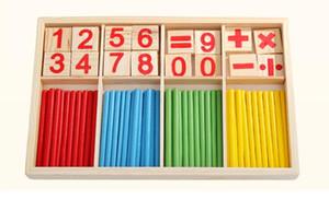 Montessori Numero di legno Math Game Sticks giocattolo educativo Box Puzzle Sussidi didattici Set Materiali