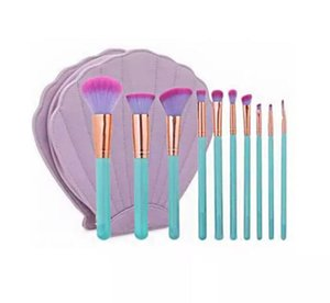 Mode 10 Teile / beutel Professionelle Make-Up Pinsel Shell Fall Kit Tragbare Comestic Tasche Makeup Tools Foundation Blush Augenbraue Bilden