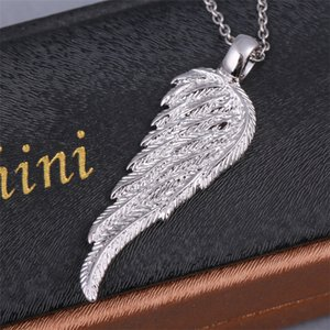 Fashion Angel Bird Wing Feather Pendants 2-Sided Solid 925 Sterling Silver carving Pendant with necklace Wedding Party gifts