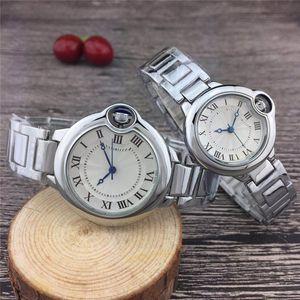Горячая продажа Пара женские мужские часы Мода из нержавеющей стали Кварцевые наручные часы влюбленных для мужчин Ladies лучший подарок Валентайн дропшиппинг