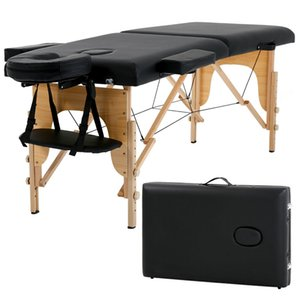 """New Massage Table Spa Bed 73"""" Long Portable 2 Folding W  Carry Case Black"""