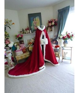 Long Christmas Winter Wedding Bridal Capes Hooded Cloaks Jacket Faux Fur Mantles