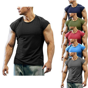 Sports Tees Gym Mens Breathable Tops Plus Size Mens Fitness Tshirts Casual Solid Crew Neck Sleeveless