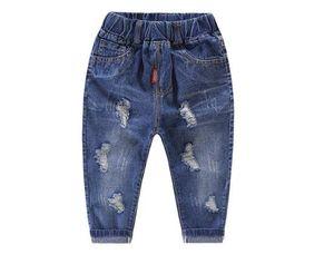 2019 осень мода для младенцев мальчиков Брюки Детские Hole Jeans мультфильм Источник высокой талией брюки для мальчиков Детская одежда