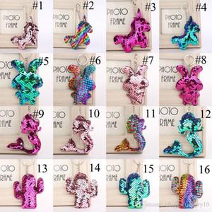 102 Renkler Mermaid Sequins Anahtarlıklar Flamingo Yıldız Tavşan Unicorn Kalp Anahtarlık Glitter Anahtarlık Hediyeler için Bebek Takıları Araba Çanta Anahtarlık