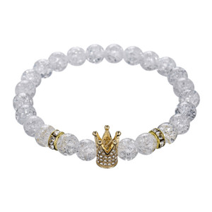 Venta caliente Imperial Micro Pave Cubic Zircon Crown Charm Bracelet Hombres Mujeres White Crack Flowers Stone Beads Bracelet Jewelry