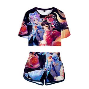 Venta al por mayor 2018 NUEVO 3D Onmyoji Kpop conjuntos sexy de dos piezas sexy Camiseta suave y pantalones cortos elásticos Moda kpop Estilo atractivo Moda