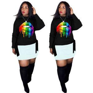 Lip Stampato progettista delle donne maglietta O Neck Pullover Womens top a manica lunga colorato casual Abbigliamento Donna