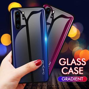 Kohlefaser streifen gradienten gehärtetem glas telefon case für huawei p30 pro p30 lite honor 9x pro honor 20 8x mate 20pro p20