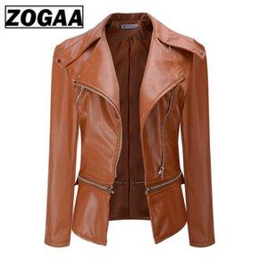 ZOGAA 2020 женская куртка из искусственной кожи готический черный Гот мотоциклетная куртка молнии с длинным рукавом Женские куртки из искусственной кожи PU