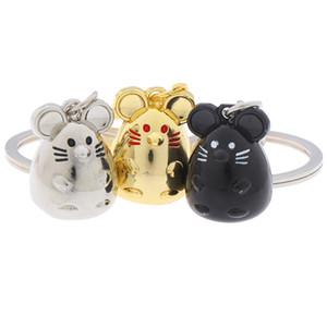 NEW Ratte Maus Keychain Mode Tier Auto Keyfob Tasche Anhänger Schlüsselanhänger Schlüsselanhänger für Frauen-Geschenk 2020 Maus Jahr Keyring