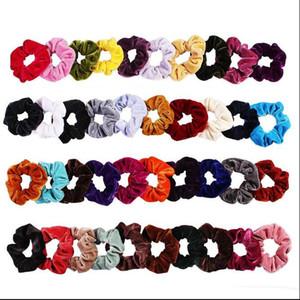 40 renk Kadın Kızlar Canlı Katı Kadife Kumaş Elastik Halka Saç Kravatlar Aksesuarları At Kuyruğu Tutucu Hairbands Lastik Bant Scrunchies INS sıcak
