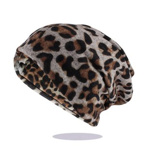 Hip Hop Women Fashion Leopard Print Warm Hat Caps For Girl Dot Spring Autumn Cotton Beanies Skullies Double Used Hats Scarf