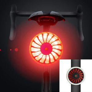 دراجة دراجة الضوء الخلفي الذكية الفرامل الاستشعار IPX6 USB للماء شحن الدراجات الضوء الخلفي LED أضواء الدراجة السلامة