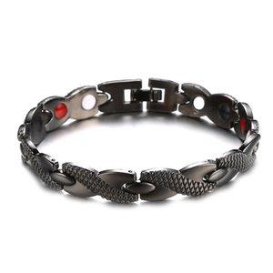 Titanio Acciaio Terapia braccialetto magnetico Moda Uomo acciaio inox singola fila di magneti Drago Grano Salute Bracciale LJJ-TTA1865