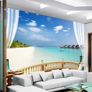 Seaview parede Dropship personalizado Mural Wallpaper 3D Praia Pintura Sala Sofa quarto Photo Wallpaper Home Decor Murais de parede 3D