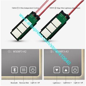 1 Piece THREE KEY LED Mirror Touch Sensor Switch with Optional Functions of Brightness Adjustment or Bluetooth or Mist Removing