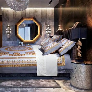 100s Cotton 5pcs GOLD King Size 5PCS Bedding Set French Italy design Print Brand King Queen size Wedding Bedding Set