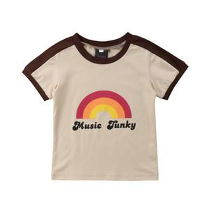 O-Neck Coração do arco-íris de Verão Crianças Meninos manga curta TShirts Bebés Meninas camisetas da Children Tee Tops T-shirt da menina do menino da criança