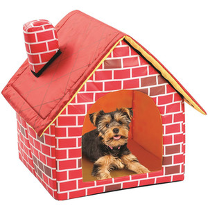 Pet Casa Rossa Canili staccabile pieghevole Flat Top Dog House Nest portatile pieghevole gatto del cane del Bed Puppy Puppy Pet Supplies DHL WX9-1875