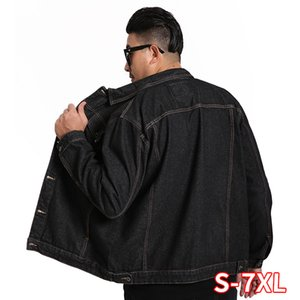 Men Plus Size 7XL New Denim Jacket Men's European And American Lapel Loose Large Jacket Plus Size Men's Clothing