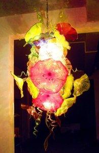 Art moderne conçu LED Light Chandelier Hôtel Decoraion 100% borosilicate soufflé bouche en verre de Murano Plate Flower Light Chandelier